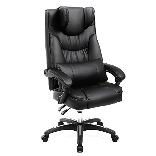 SONGMICS Executive Office and Lounge Chair with Gravity Casters and Foldable Headrest Ergonomic Swivel Gaming Chair PU Black Extra Large Size OBG76BUKV1