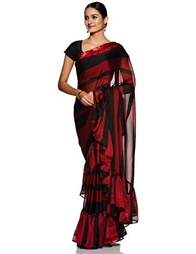Womanista Crepe Saree with Blouse Piece (FS9672_Red & Black_One Size)