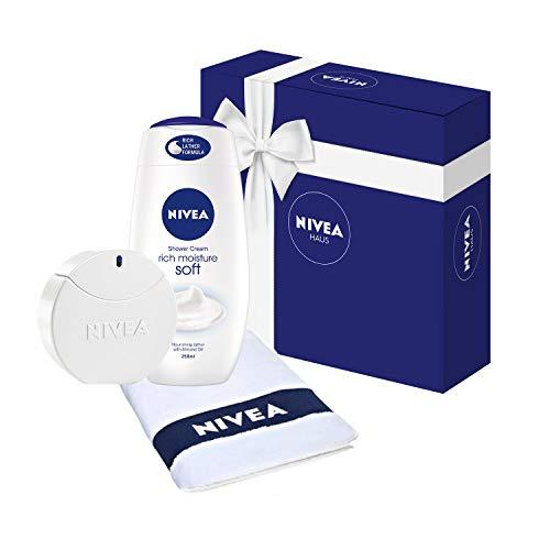 NIVEA Eau de Toilette EdT, Pflege Duft in Parfum Flakon und NIVEA Dose, 1 x 30 ml, Geschenkset für Frauen mit NIVEA Soft Pflegedusche (250 ml) und Gästehandtuch