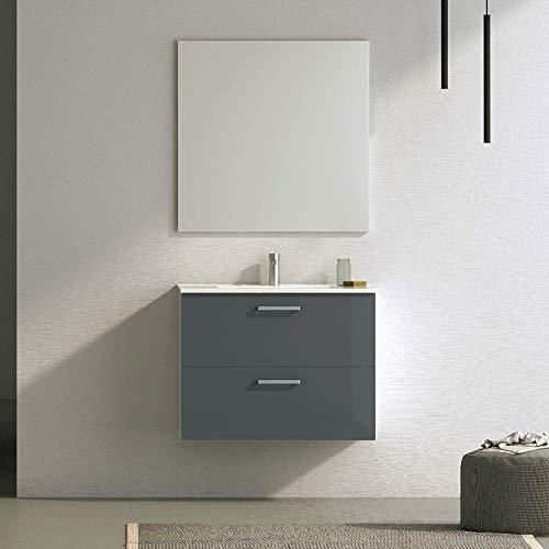 Randalsa Möbel Nexo 80 cm | Grijs | 81 x 81 x 46 cm | Meubels 2 laden + wastafel keramiek