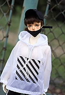 BJD Doll Clothes fit 1/3 1/4 Size White Hooded Hoodie Sun-Protective Clothing Hoodie Long Sleeve top Doll Accessories,Whit...