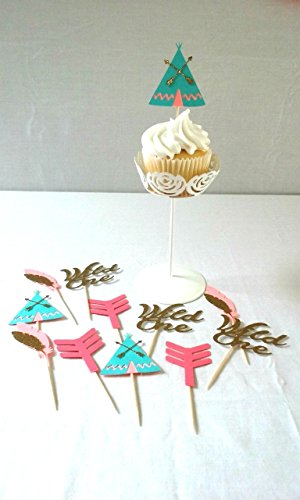 Tribal Cupcake Toppers - wild one tribal birthday - party supplies - boho - aztec