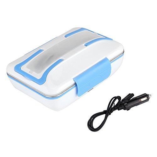 Mumusuki 12V 40W Pranzo Riscaldamento Elettrico Bento Pasto Contenitore Portatile in Acciaio Inossidabile per Scaldavivande per Uso Auto Ufficio Viaggi con Cucchiaio e Forchetta(Blu)