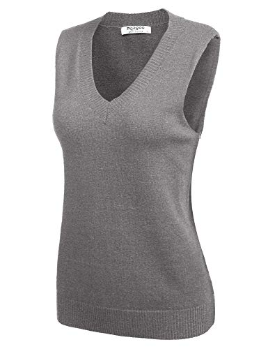 Zeagoo Damen Weste Strick Pullunder V-Ausschnitt Strickweste Baumwoll Vest mit Strick Feinstrick für Business und Freizeit (1_Grau, EU 40 / L)