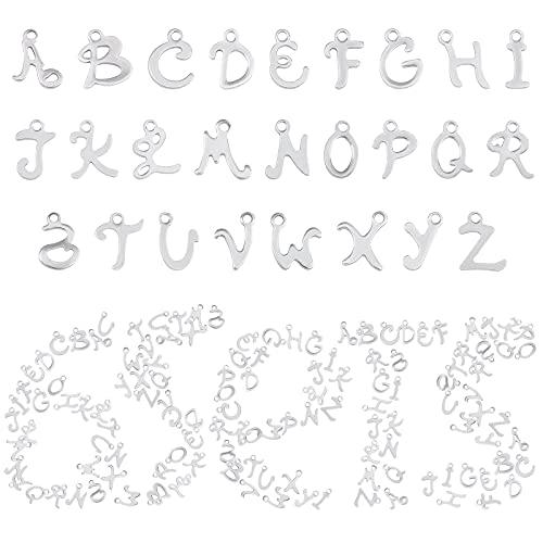 SUNNYCLUE 1 Caja 156 Piezas 6 Juegos de Abalorios de Letras ABC Mini Alfabeto Inicial AZ Colgantes de Acero Inoxidable Accesorios de Joyería Suministros para Mujeres DIY Pendiente Pulsera
