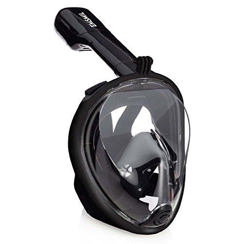 Emsmil Maschera da Snorkel Snorkeling Subacquea Immersioni Nuoto 180 ° Vista Panoramici Easybreath Full Face maschere subacquee Anti-Fog Anti-perdita per Adulti e Bambini gopro Nero L/XL