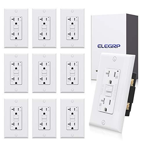 10 pack ELEGRP 20 Amp GFCI Outlet, 5-20R GFI Dual Receptacle, TR Tamper Resistant and WR Weather Resistant, Self-Test Ground Fault Circuit Interrupters, w/Wall Plate, UL Listed (White)