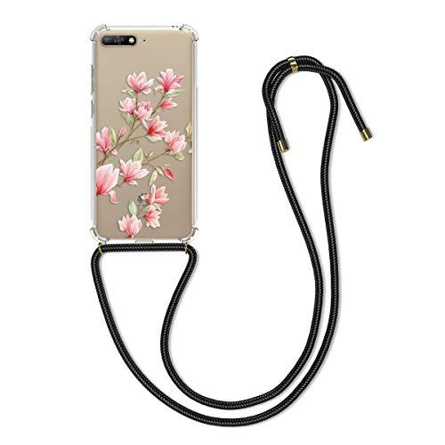 kwmobile Hülle kompatibel mit Huawei Y6 (2018) - mit Kordel zum Umhängen - Silikon Handy Schutzhülle Magnolien Rosa Weiß Transparent