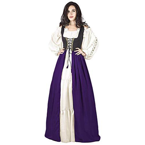 Vestido Maxi Medieval De La Vendimia De Las Mujeres De Halloween Disfraz con Manga Prpura M