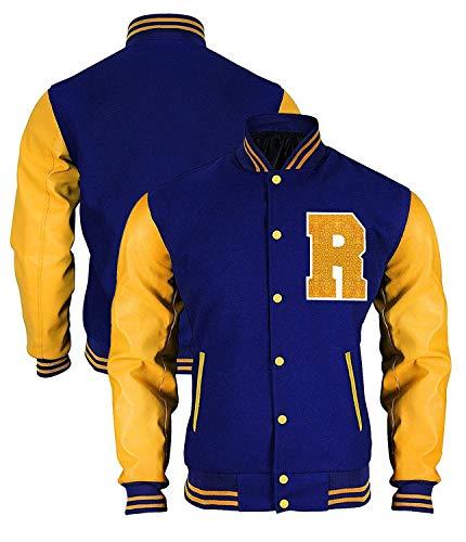 e Genius Hombres R Logo azul y amarillo Letterman Varsity Bomber Jacket - Chaqueta Bomber para hombre - Chaqueta de Bomber Varsity - Chaqueta Bomber - Chaqueta de forro polar azul - Chaqueta V