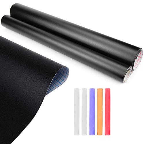 Inntek Pizarra Pegatina Adhesiva, Papel de Pizarra Adhesivo, Pegatina Pizarra Extraíble,Vinilo Pizarra Negra 43CM*3M para Escribir Dibujar Borrar 30CM*5M Reutilizable con Tizas