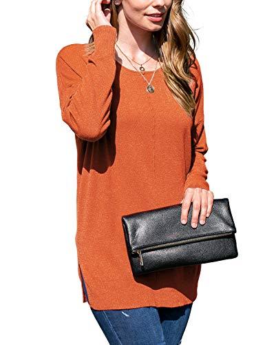 Doublju Women's Long Sleeve Round Neck Knit Sweater with Plus Size Rust 3X