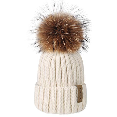 Womens Knit Beanie Winter Hats Detachable Real Raccoon Fur Pom Pom Hat Girls Ski Skull Cap (Beige)