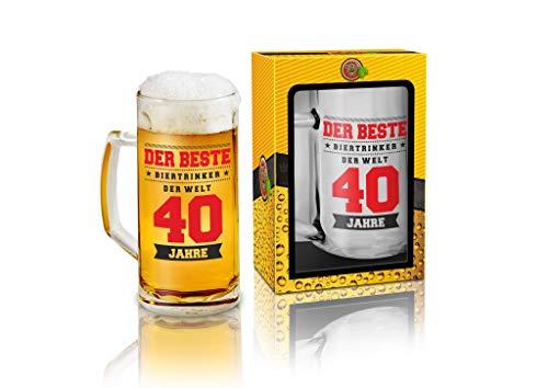 Abc Casa Bierkrug 0,5l mit originelles Aufschrift zum 40. Geburtstag für Männer - Der Beste Biertrinker der Welt 40 Jahre - praktisches verwendbares Geschenk für 40-Jährige im Geschenkbox
