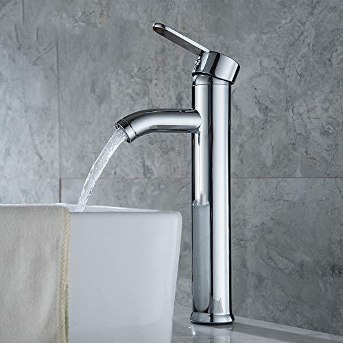 RTTGOR Wasserhahn Edelstahl Chromstahl Einhand Einlochmontage Becken Wasserhahn Waschbecken Wasserhähne Becken Deck Montiert Tap Home Decor