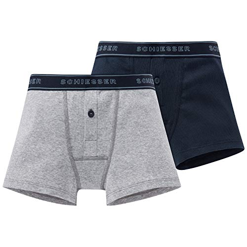 Schiesser Jungen Long Life Cotton 2Pack Retros Boxershorts, Mehrfarbig (Sortiert 1 901), (Herstellergröße: 164) (2er Pack)