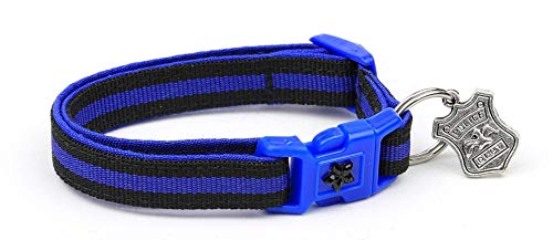 Pugs2Persians Thin Blue Line Cat Collar - Safety - Breakaway - Charm and Bell - Police Officer