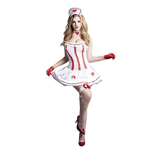 H.Y.FFYH Sex Unterwäsche Frauenkleider sexy Krankenschwester Kleidung weiß sexy Unterwäsche Ehrlichkeit Uniformen Versuchung Versuchung Cosplay-Netz Frau Nachtwäsche (Size : Free Size)