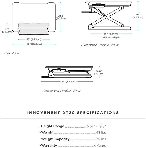 InMovement Standing Desk, Adjustable Heights for Sitting or Standing While You Work, Dark Wood, 41 X 26
