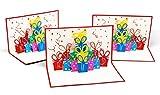 3er-Set überraschende Geburtstagskarten - fröhliches 3D Pop-Up Karten-Set zur Gratulation zum Geburtstag - hochwertige Karten für Geburtstags-Glückwünsche & Jubiläum