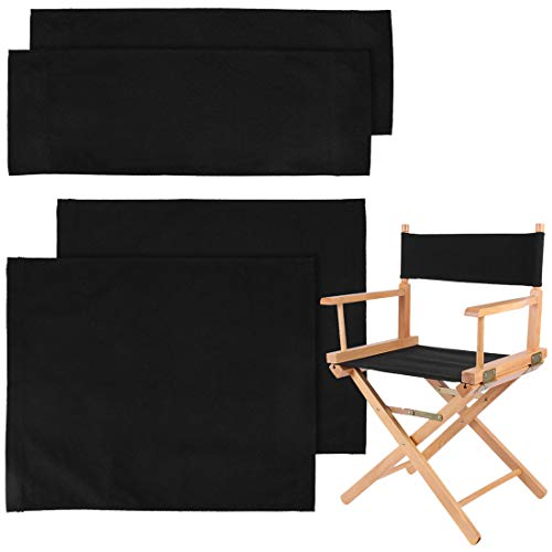 YUER 2 Set Director Chair Covers Canvas Replacement Seat Cover Stool Chair Seat and Back Protector Cover Black