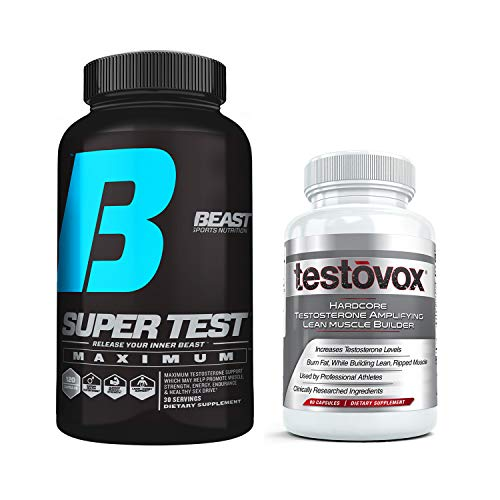 Beast Super Test Maximum (120) Bundled with Testovox Muscle Builder (60 caps): Most Extreme Supplement Stack for Men | Comprehensive Testosterone Booster with Clinically Dosed KSM-66, PrimaVie, S7