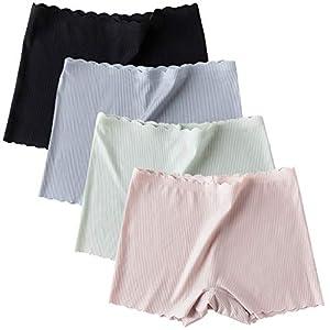 4枚セット ショーツ レディース ボクサー アイスシルク シームレス パンティ 女性下着 パンツ 無地 無縫製 レギュラー ショーツ セクシー 美尻 通気性