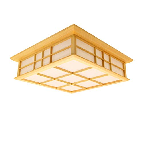 Lámpara de techo de madera de estilo japonés lámpara de día de ahorro de energía LED moderna, sala de estar para niños de China sala de Investigación lámpara de araña iluminación interior(35x35x10cm)