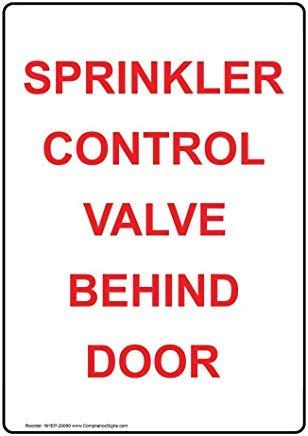Sprinkler regelklep achter deur metalen waarschuwingsborden, prive-teken, tuin hek werf teken 8