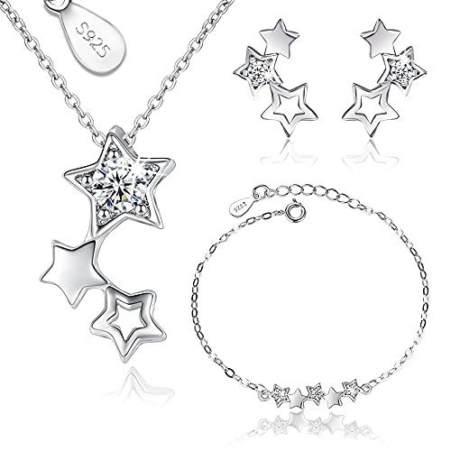 Conjunto de Joyas de Plata para Mujer, Juego de Collar Pulsera y Pendientes Estrellas de Plata con Circonitas, Regalos Originales para Mujer