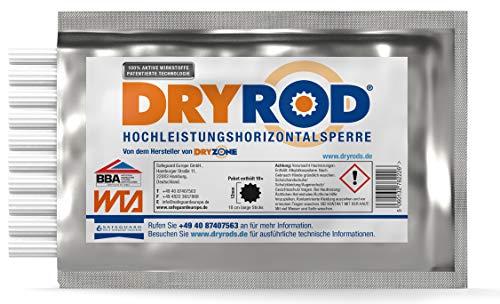 Dryrod Hochleistungs - Horizontalsperre - Stäbchen zur Abdichtung des Mauerwerks - WTA Zertifiziert (10 Stäbchen). Ergiebigkeit - bei 115mm Wandstärke > 2m Länge; bei 230mm Wandstärke > 1m Länge.