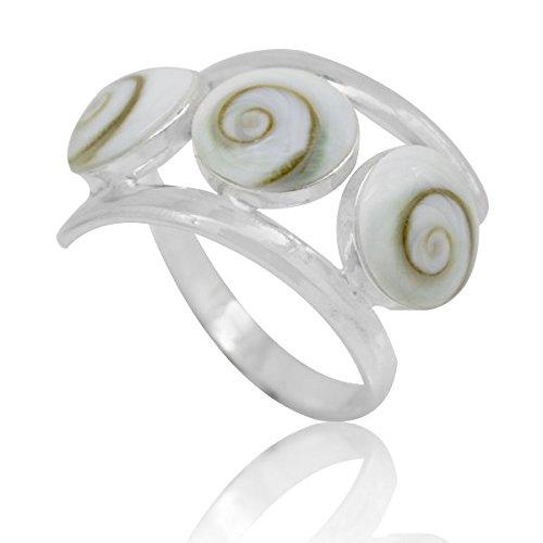 Chic-Net Shivaauge 8 mm drei Kreise spiralig Silberringe 925er Silber Shiva Auge Eye Schmuck 55 (17.5)