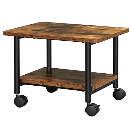 VASAGLE Industrial Under Desk Printer Stand, 2-Tier Mobile Machine Cart with Shelf, Heavy Duty Storage Rack for Office and Home, Rustic Brown and Black UOPS002B01
