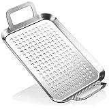COM-FOUR® Sartén para barbacoa de acero inoxidable con prácticas asas, cesta de grill para verduras y carne (color plata)