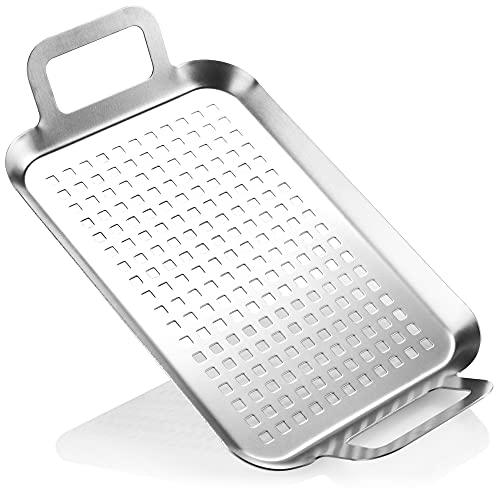 COM-FOUR® Bistecchiera per barbecue in acciaio inossidabile...