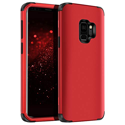YINLAI Samsung S9 Case, Galaxy S9 Case Shockproof 3 in 1 Slim Hybrid Heavy Duty Hard PC Cover Soft Silicone Rubber Bumper Full Body Protective Phone Cases for Girls Women Samsung Galaxy S9 Black/Red