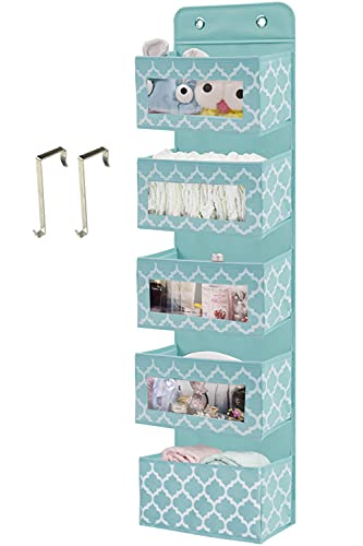 Over The Door Hanging Organizer with 5 Large Clear Window Pocket, Wall Mount Storage Organizer with 2 Metal Hooks for Pantry Baby Nursery Bathroom Closet Dorm 1 Pack Blue