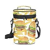 Montoj Bolsa enfriadora de vino aislada para viajes fritas de vaca hamburguesa de carne de vacuno bolsa de vino