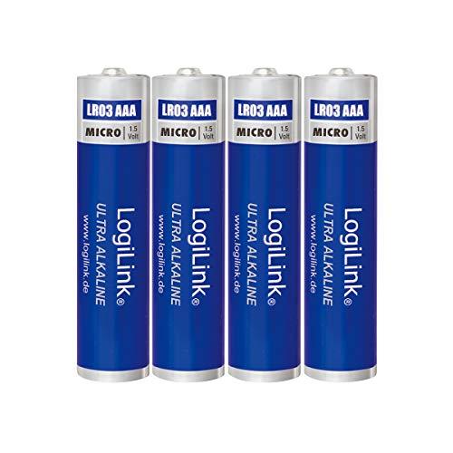 LogiLink AAA Micro 1.5V Batterie (Blister mit 4 Stück), Ultra Power Alkaline LR03, für diverse Geräte wie z.B. Fernbedienungen, Spielzeuge, Rauchmelder, etc.