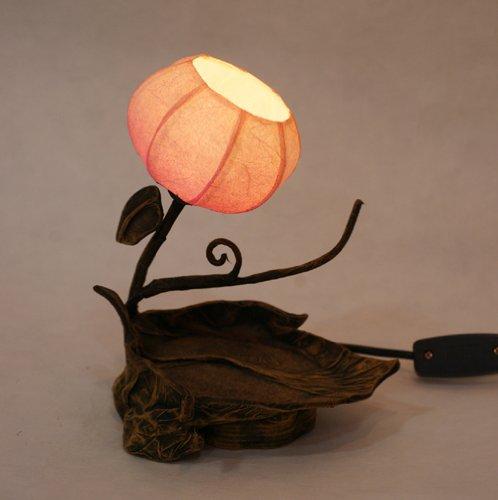 Lámpara Papel de Arroz Hecho a Mano Diseño de Ramita y Hoja Sombrillas Redondo Globo Marrón Asia Oriental Decorativo de Mesilla de Noche Decoración Rústica Doméstica de Dormitorio Mesa Mini