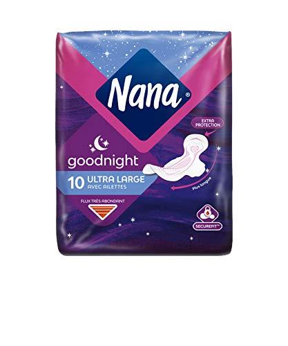 Nana Ultra Large Goodnight - Serviette hygiénique pour la nuit, paquet de 10 serviettes