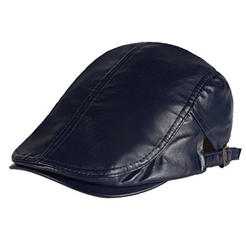 Panegy - Sombrero de Cuero Unisex Gorra de Visera Color Sólido Para Hombre Mujer Boina del Vendedor de Periódicos moda - Negro