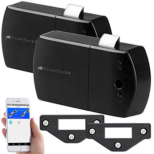 VisorTech Aufschraub-Schloss: 2er-Set Schubladen- & Schranktüren-Schlösser mit Bluetooth und App (Möbelschloss-Aufschraubschloss)