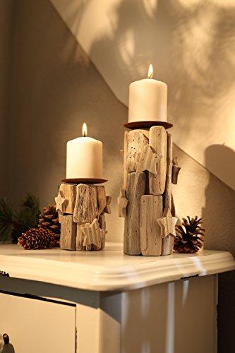 """*Dekoleidenschaft 2er Set Kerzenhalter """"Sternchen"""", Teelichthalter, Windlicht aus Holz*"""