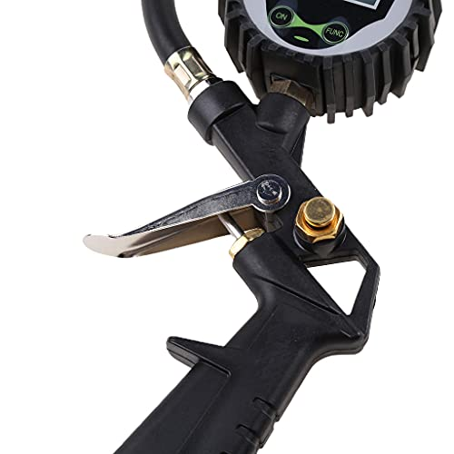 RK-HYTQWR Digital Car Truck Air Neumático de presión Inflador Medidor de dial LCD Probador de vehículos, Adaptador de válvula de neumático Bicicleta