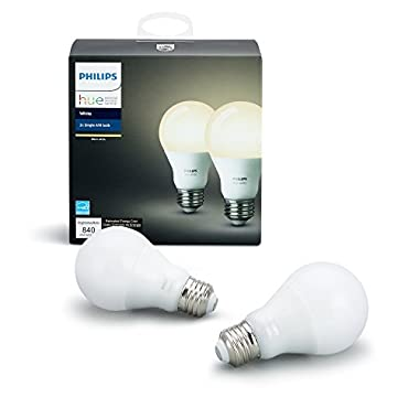 Philips Hue White A19 2-Pack 60W Equivalent Dimmable LED Smart Bulb (Compatible with Amazon Alexa Apple HomeKit and Google Assistant)