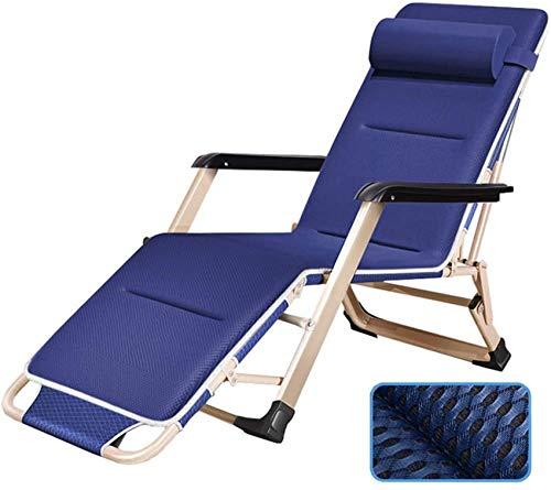 MFLASMF Productos para el hogar Patio Lounge Sillones reclinables Tumbona Plegable Silla reclinable para Patio Jardín Camping Picnic Playa Relajante Al Aire Libre Asiento cómodo - Azul