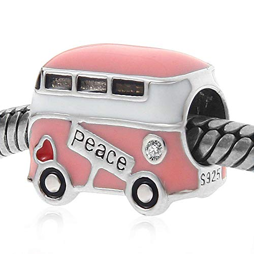 Peace Bus Charms,925 Sterling Silver with Pink Enamel, Mini Beads Fit Pandora Charm Bracelets and European Snake Chains for women, Travel/DIY Charms-Peaceful Theme, Memorable Gifts for Volunteer