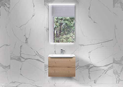 Intarbad ~ Gästebad Slide 60x35 cm WT, Evermite Waschbecken mit Unterschrank und LED Spiegel Vicenza Eiche IB1831