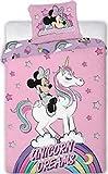 Enjoykids Parure de lit Minnie Licorne - Housse de Couette 140x200 cm + Taie d'oreiller Minnie avec Licorne